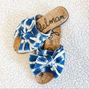 Sam Edelman Bow Slides Sandals Tie Dye Blue White